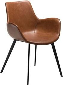 Svetlohnedá koženková jedálenská stolička s opierkami na ruky DAN-FORM Denmark Hype