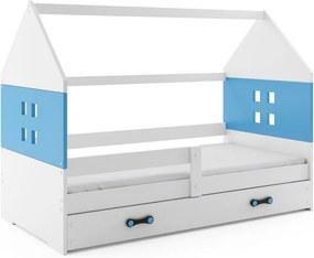 Expedo Dětská postel MIDO P1 COLOR + matrace + rošt ZDARMA, 80x160, bílá, modrá