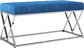 vidaXL Lavica 97 cm, modrá, zamatová látka a nehrdzavejúca oceľ