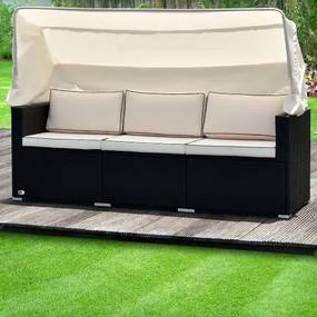 Ratanová záhradné posteľ LUZON černá