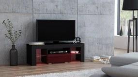 Mazzoni TV stolík MILANO lesklý 110 LED čierny, burgund zásuvka