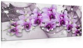Obraz fialové kvety na abstraktnom pozadí