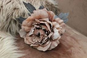 Oranžová sametová ruža s glitrom 14cm
