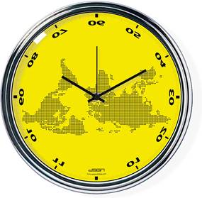Žlté vodorovne zrkadlené hodiny s mapou