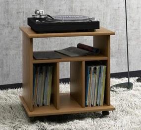 Pojazdný stolík na gramofón + LP, dub rustikálny