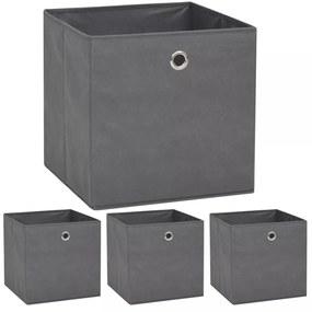 vidaXL Úložné boxy, 4 ks, netkaná textília, 32x32x32 cm, sivé