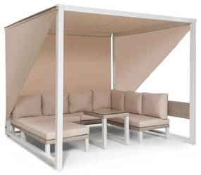 Havana, pavilón & Lounge-Set, 270x230x270cm, 4 dvojsedadlá, biely