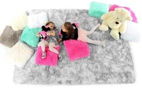 MAXMAX Plyšový detský koberec STRIEBORNÝ šedá