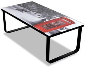 vidaXL Konferenčný stolík, sklenená doska s potlačou telefónnej búdky