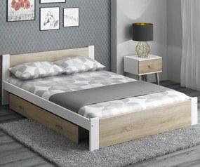 AMI nábytok Postel DMD3 120x200cm bílá+dub sonoma