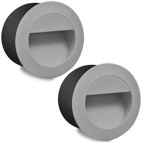 2 kruhové zapustené schodové LED svietidlá, priemer 126 mm