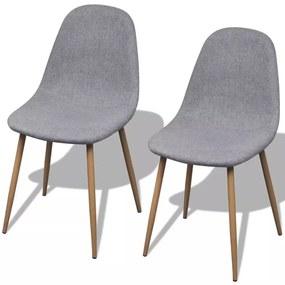 242088 vidaXL Svetlo šedé látkové kuchyské stoličky bez opierok, železné nohy 2 ks