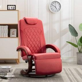 vidaXL Sklápacie TV kreslo, červené, umelá koža