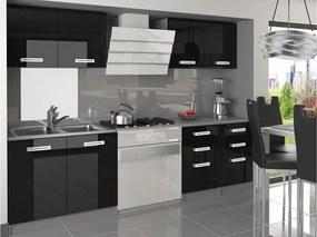 Sektorová kuchyňa čierna lesk Katnis 160 cm
