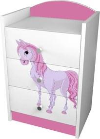 OR Komoda Mery ružová K03 - viac variantov Motív: I - Princezna s koníkom