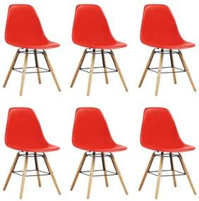 vidaXL Jedálenské stoličky 6 ks, červené, plast