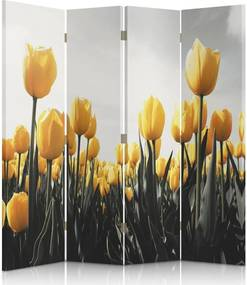 CARO Paraván - Yellow Tulips   štvordielny   obojstranný 145x180 cm