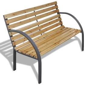 vidaXL Záhradná lavička 112 cm, drevo a železo
