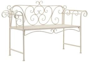 vidaXL Záhradná lavička 132 cm, kov, starožitná, biela