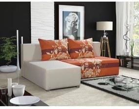 Rohová sedacia súprava rozkladacia KRISTIAN, biela + oranžová