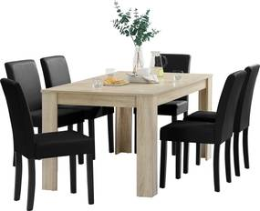 [en.casa]® Rustikálny dubový jedálenský stôl HTFU-2338 so 6 stoličkami HTMY-9706