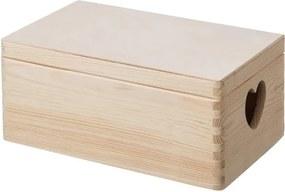 ČistéDrevo Drevený box s viekom a srdiečkami