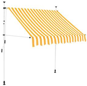 Ručne zaťahovacia markíza, 200 cm, žlto-biele pásiky