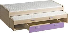 TEMPO KONDELA Ego L16 80 rozkladacia posteľ s prístelkou jaseň / fialová