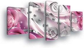 GLIX Obraz na plátne - Silver Zircons with Pink 2 x 40x60 / 2 x 30x80 / 1 x 30x100 cm