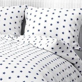 Goldea bavlnené posteľné obliečky - vzor 129 tmavo modré hviezdičky na bielom 140 x 200 a 70 x 90 cm