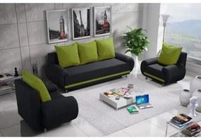 Sedacia súprava AMITERNO, čierna + zelené vankúše