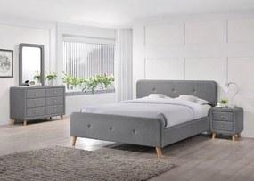 Čalúnená posteľ MALMO 140x200 cm sivá Matrac: Matrac COCO MAXI 23 cm