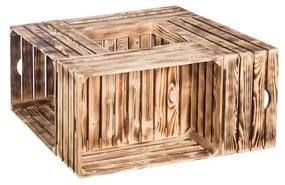 ČistéDrevo Drevené opálené debničky konferenčný stolček 84x39x84 cm