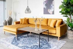 Dizajnová sedačka s otomanom Ansley horčicový zamat - ľavá