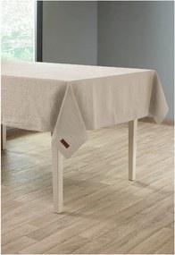 Béžový obrus s prímesou ľanu Tiseco Home Studio, 135 × 240 cm