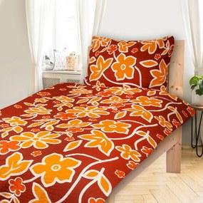 HOD Obliečky BONA oranžová Krep 70x90 140x200 cm