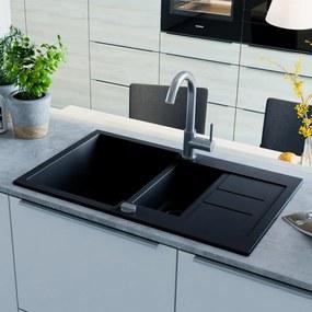vidaXL Granitový kuchynský drez, dve vaničky, čierny