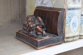 Hnedý rustikálny držiak na knihy s anjelom 12cm