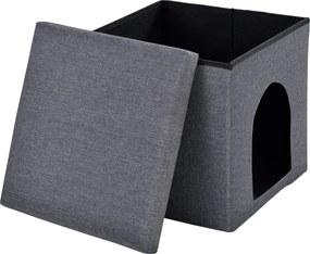 [en.casa]® Skladací taburet - s odkladacím priestorom / pelechom - tmavo sivý