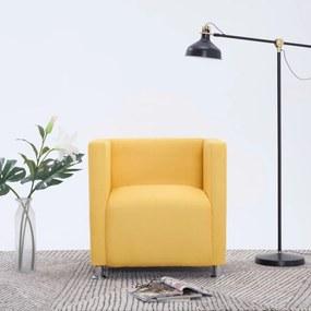 vidaXL Kreslo v tvare kocky, žlté, látka