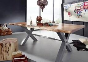 Masiv24 - DARKNESS Jedálenský stôl 200x110 cm - strieborné nohy, tmavovohnedá, akácia