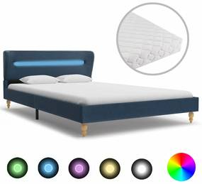 vidaXL Posteľ s LED a matracom, modrá, látka 120x200 cm