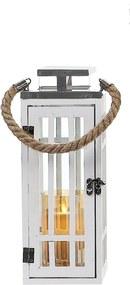 Drevený lampáš so striebornou strieškou MSL3020 - biely (12x12x34 cm) - moderný štýl
