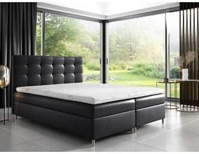 Čalúnená posteľ Alexa s úložným priestororm čierna eko koža 180 x 200 + topper zdarma