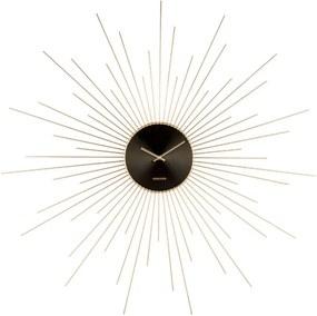 Nástenné hodiny v čierno-zlatej farbe Karlsson Peony, ø 95 cm