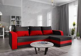 Expedo Rohová rozkládacia sedačka WELTA, 237x85x140, čierná/červená, mikrofáze15/22