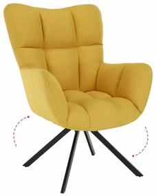 TEMPO KONDELA Komodo dizajnové otočné kreslo žltá / čierna