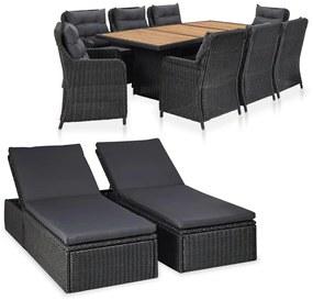vidaXL 11-dielna vonkajšia sedacia súprava čierna  polyratanová