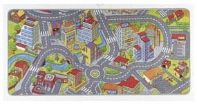 Detský koberec so sivými detailmi Hanse Home City, 90 × 200 cm
