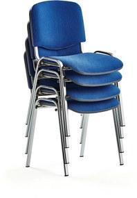 Konferenčná stolička Nelson, 4 ks, modrá, chróm